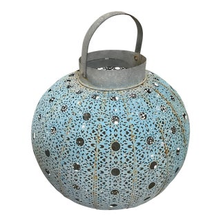 Moroccan Turquoise Large Tin Garden Lantern - Great Patina For Sale
