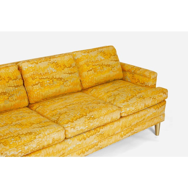 Mid-Century Modern Jack Lenor Larsen 4 Seat Sofa on Brass Legs For Sale - Image 3 of 7