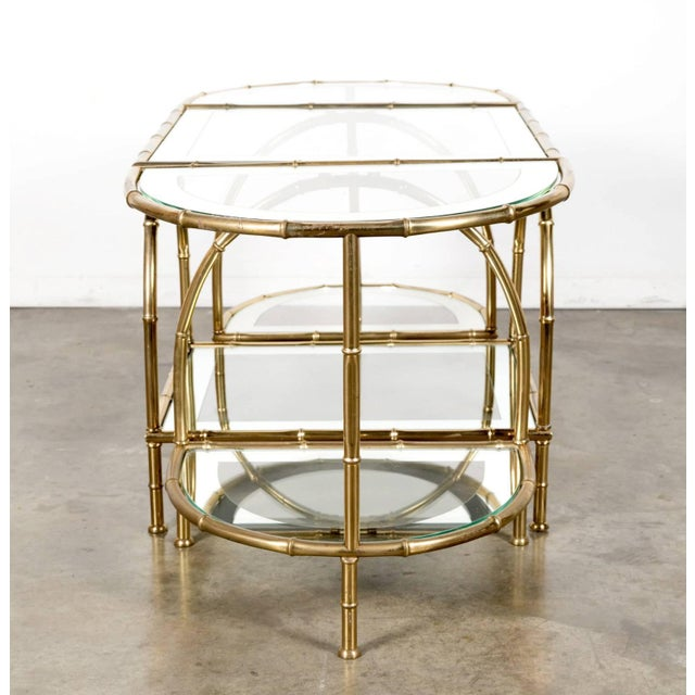 Mid 20th Century Hollywood Regency Maison Baguès Brass Faux Bamboo Three-Piece Coffee Table - 3 Pieces For Sale - Image 5 of 10