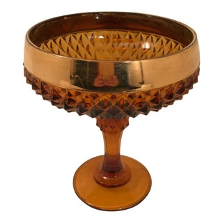 1970s Vintage Indiana Glass Diamond Point Amber Gold Glass Compote Bowl For Sale