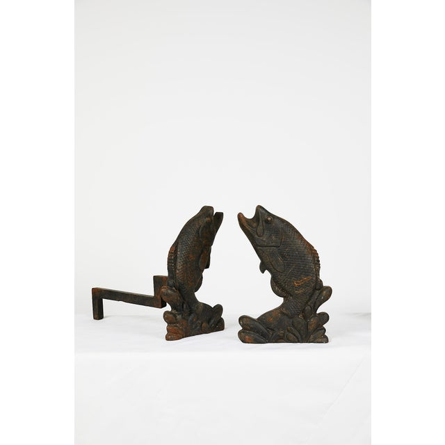 Pair of Antique American Cast Iron Leaping Fish Andirons For Sale - Image 4 of 9