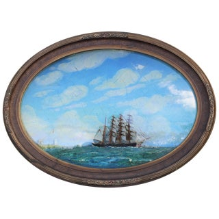 Oval Concave Ship Diorama For Sale