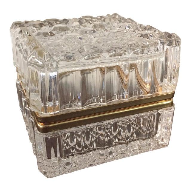 Vintage Cut Crystal Trinket Box For Sale