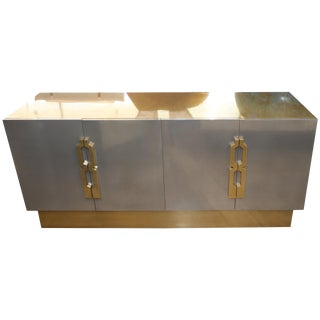 Geometric Handled Stainless and Brass Credenza For Sale