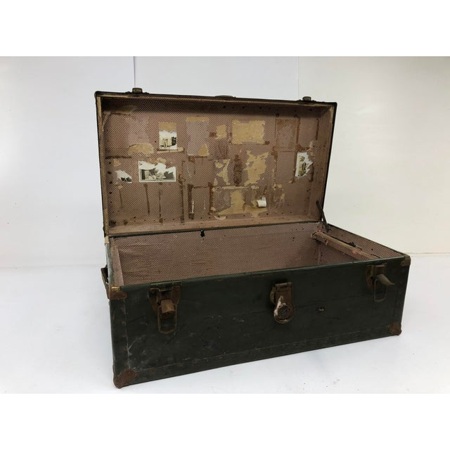 Vintage Industrial Green Wood Military Foot Locker Trunk W Tray For Sale - Image 9 of 13