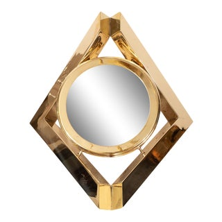 Sculptural Brass Diamond Surrounding Circle Picture Frame For Sale
