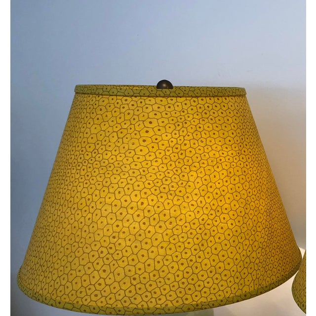 English Traditional Paul Ferrante Dark Yellow Fabric Custom Shades - A Pair For Sale - Image 3 of 5