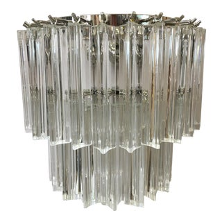 Contemporary Applique Triedro Murano Glass Wall Sconce For Sale