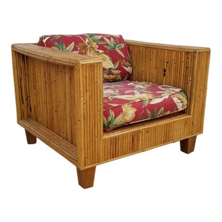 1970s Vintage Boho Chic Tropical Rattan Lounge Chair For Sale