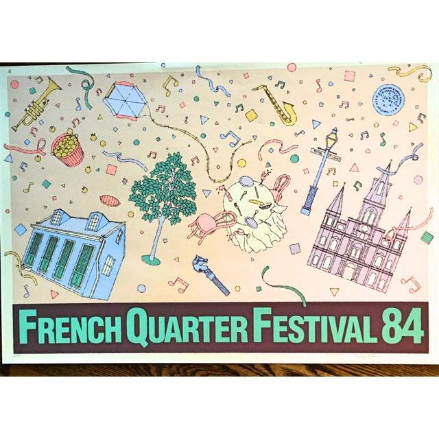 """Vintage """"French Quarter Festival 84"""" Lithographic Poster - Image 3 of 11"""