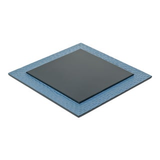 Square Flat Chiseled Tray in Blue - Martin Brudnizki for The Lacquer Company For Sale