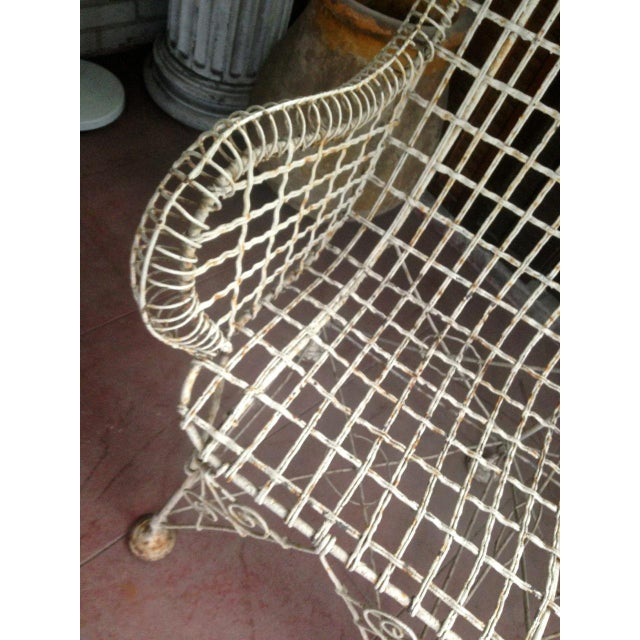1870s Vintage French Double Wired Iron Wire Victorian Garden Patio Settee For Sale - Image 11 of 13