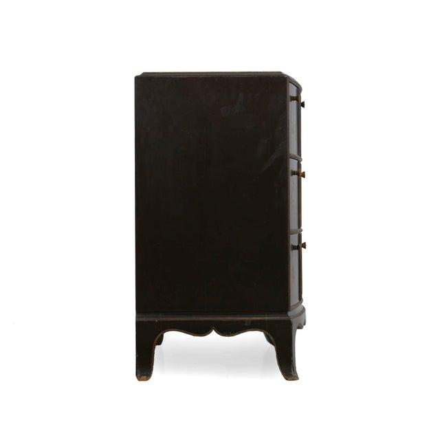 1940s Art Deco Chinoiserie Mirrored Top Chest of Drawers Dresser Circa 1940s For Sale - Image 5 of 13