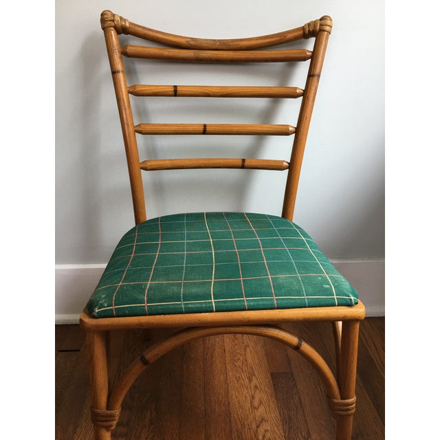 1940s Boho Chic Scorched Bamboo Accent Chair For Sale - Image 11 of 13