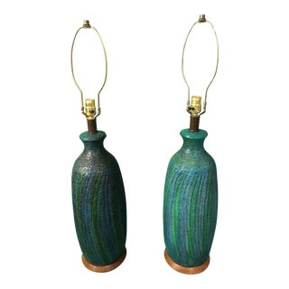 Turquoise Striped Mid-Century Stucco Lamps - A Pair For Sale