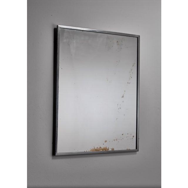 Mid-Century Modern Rectangular Italian Nickel Mirror, Italy, 1950s For Sale - Image 3 of 3