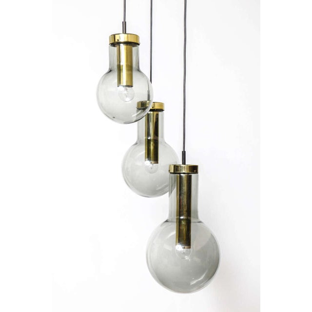 Mid-Century Modern Smoked Three Glass Raak Chandelier,1970s For Sale - Image 3 of 9
