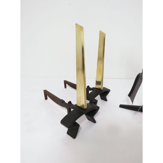 Modernist Donald Deskey Andirons and Fireplace Tools Set for Bennett For Sale In Boston - Image 6 of 8