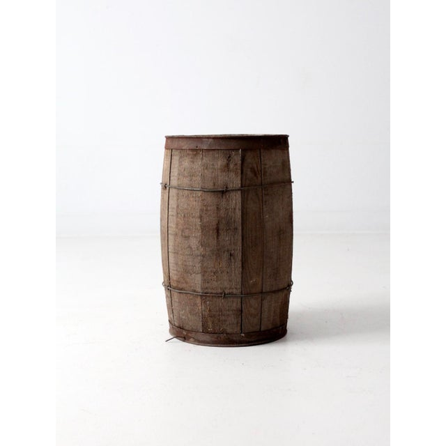 Cottage Antique Primitive Wooden Barrel For Sale - Image 3 of 9