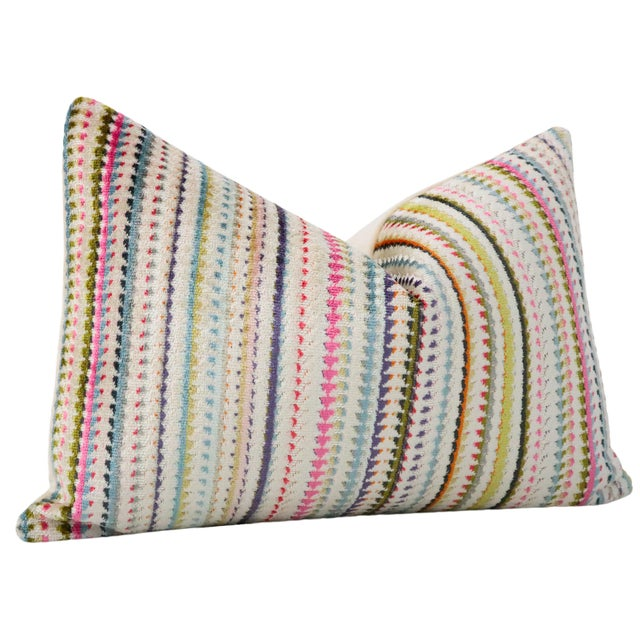 "Contemporary 12"" X 18"" Tribeca Cut Velvet Lumbar Pillows - a Pair For Sale - Image 3 of 4"