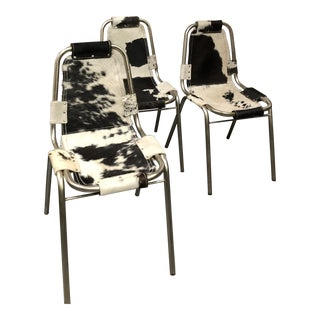 Mid-Century Modern Cowhide Sling Dining Chairs Set of 4 For Sale