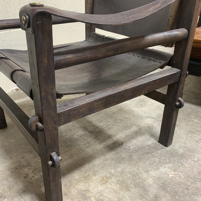 Brown Leather Safari Sling Chairs - a Pair For Sale - Image 8 of 12