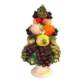 Vintage Capodimonte Italian Ceramic Fruit Tree Topiary For Sale