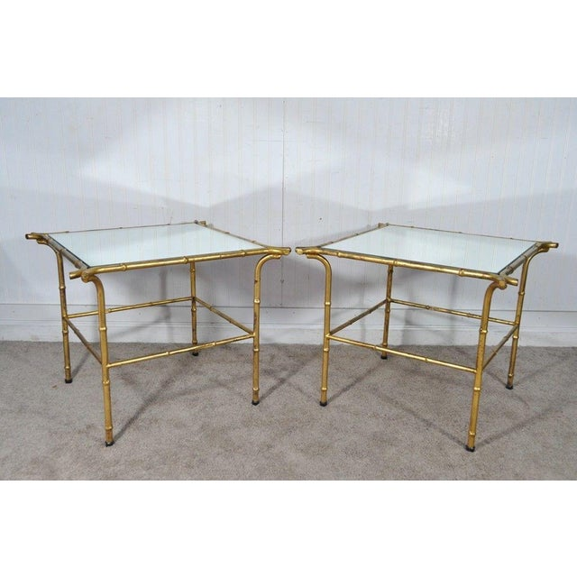 Gold Pair Vintage Italian Hollywood Regency Faux Bamboo Gold Gilt Mirror Side Tables For Sale - Image 8 of 12