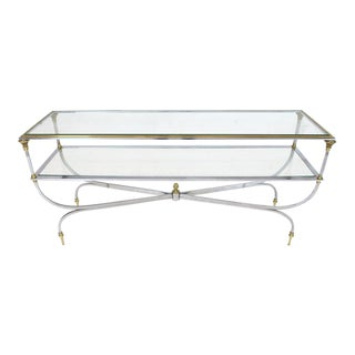 Two-Tier Brass Chrome Glass Top Console Table For Sale