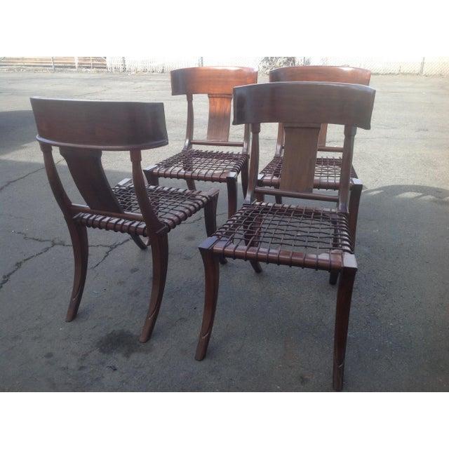 Modern Mid Century Klismos Style Walnut Dining Chairs -Set of 4 - Image 6 of 6