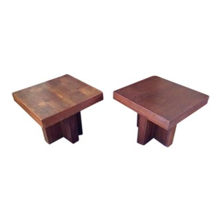 Milo Baughman Mid-Century Modern Cruciform Occasional Tables - A Pair For Sale