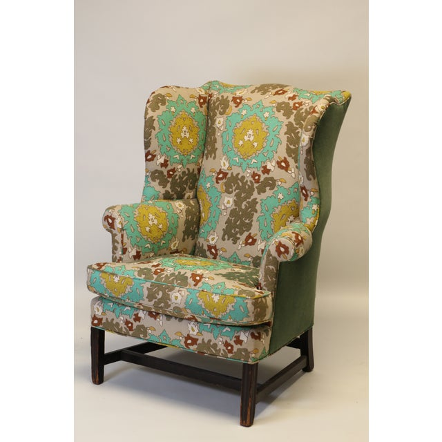 """Late 19th Century English Georgian Style Wing Chair in Clarence House """"Suzani"""" Style Fabric For Sale - Image 5 of 10"""