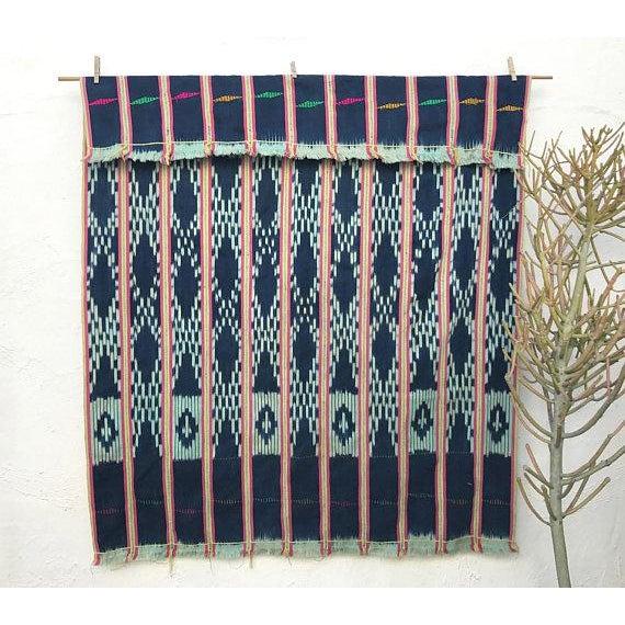 African Vintage Pink & Indigo African Baule Cloth Textile For Sale - Image 3 of 6