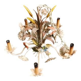 Vintage Tole Floral & Wheat Chandelier