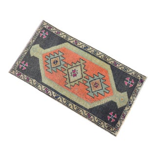 Distressed Low Pile Turkish Yastik Petite Rug Faded Mat - 20'' X 37'' For Sale