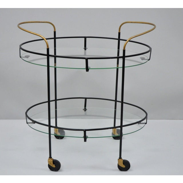 Vintage Metal Iron & Glass Atomic Era Oval Rolling Bar Cart For Sale - Image 13 of 13