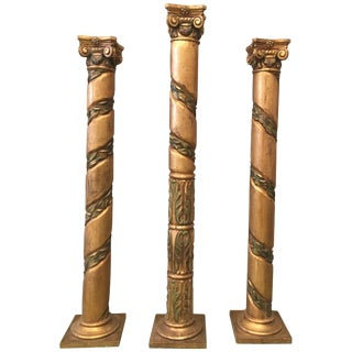 20th Century Spanish Carved Gilt Polychrome Wood Corinthian Columns.Set of Three For Sale