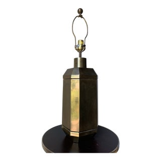 1976 Octagonal Brass Chapman Table Lamp For Sale