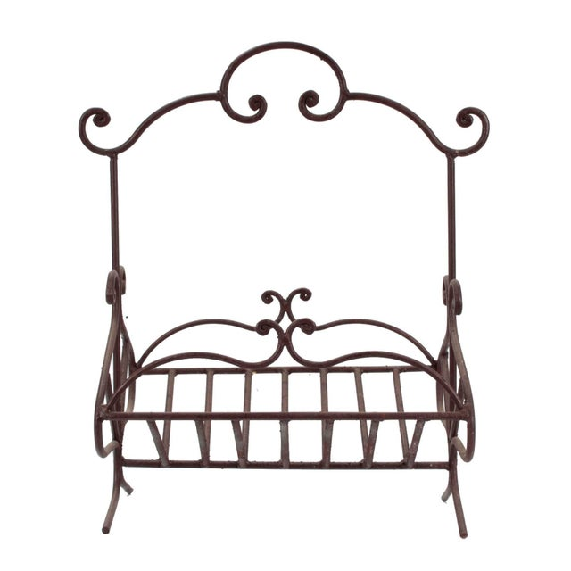 Rustic European Antique French Wrought Iron Log Holder For Sale - Image 3 of 6