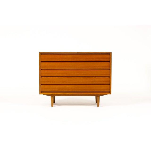 #1512 — Danish Modern / Mid Century Teak Upright Chest / Dresser — 5 Drawers Vintage 5 drawer upright chest of drawers /...