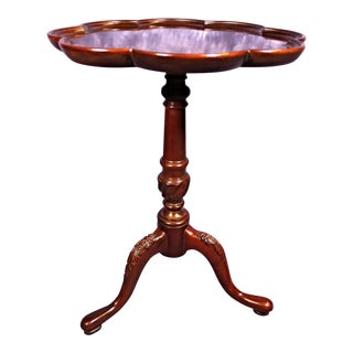 Fine Mahogany Queen Anne Style Candlestand Side End Coffee Table For Sale