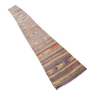 1970s Vintage Turkish Kilim Striped Rug Runner - 1′10″ × 19′2″ For Sale