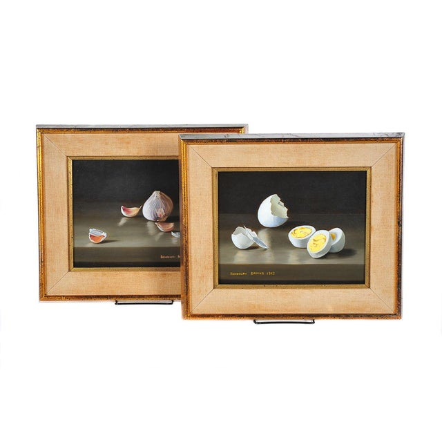 Garlic & Eggs Still Life Oil Paintings- A Pair - Image 1 of 6