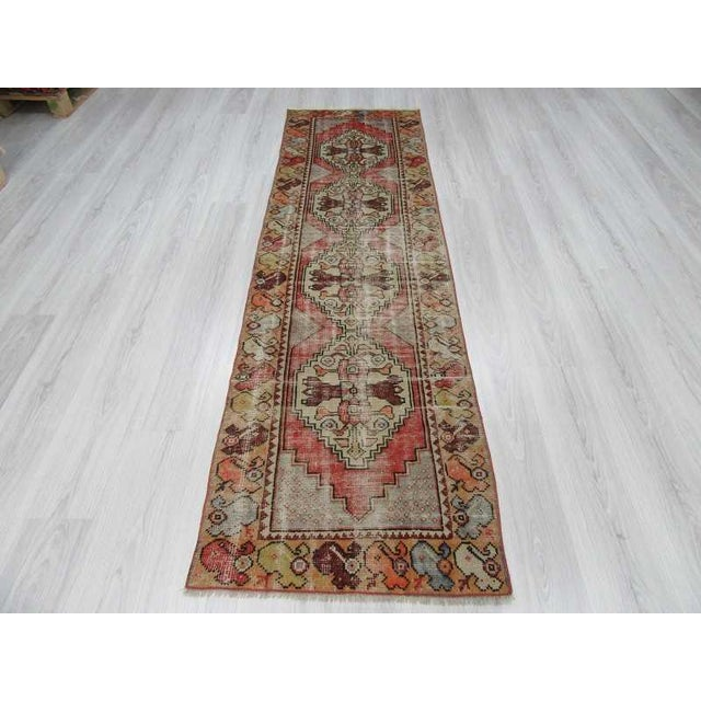 "Vintage Turkish Distressed Runner Rug - 2'5"" x 8'8"" - Image 3 of 6"
