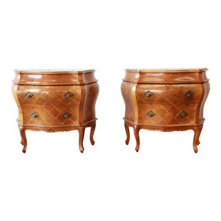 Inlaid Italian Bombay Chest Nightstands, Pair For Sale