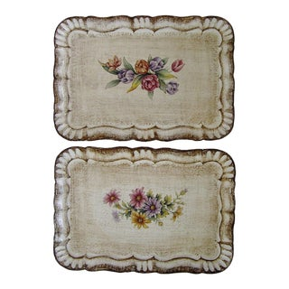 Italian Florentine Small Trays, a Pair For Sale