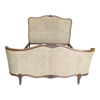 1920s French Double-Caned Bedframe For Sale