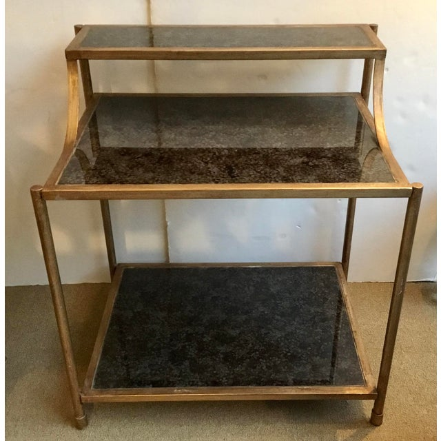 Original Retail $2499, stylish Modern Reverse Painted Glass Bar Table, gold finish frame, showroom floor sample