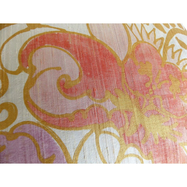 Barbara Beckmann Hand-Printed Silk Bolster Pillows, Pair For Sale In Miami - Image 6 of 9