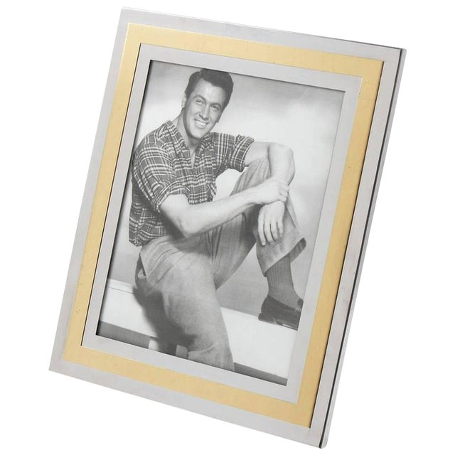 Noel b.c. Italy 1970s Modernist Chrome and Brass Picture Photo Frame - Image 1 of 6